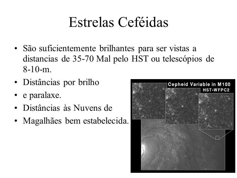 Estrelas CeféidasSão suficientemente brilhantes para ser vistas a distancias de 35-70 Mal pelo HST ou telescópios de 8-10-m.