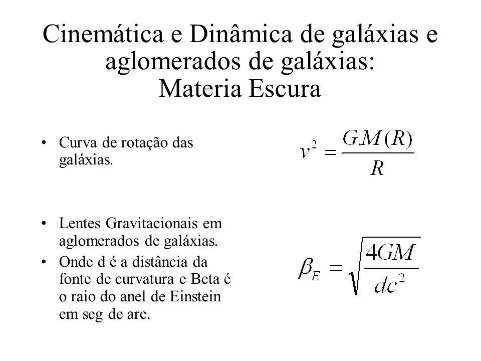 Cinemática e Dinâmica de galáxias e aglomerados de galáxias: Materia Escura