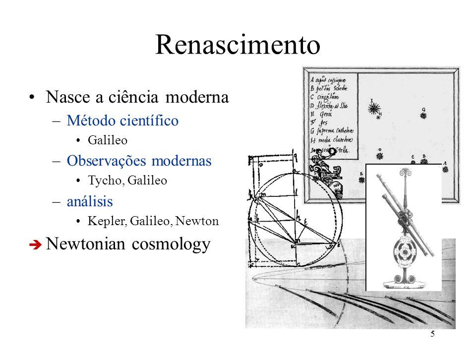Renascimento Nasce a ciência moderna Newtonian cosmology