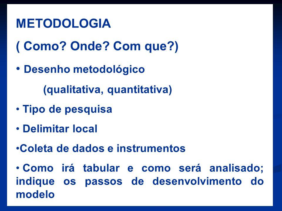 METODOLOGIA ( Como Onde Com que ) Desenho metodológico
