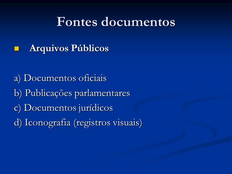 Fontes documentos Arquivos Públicos a) Documentos oficiais
