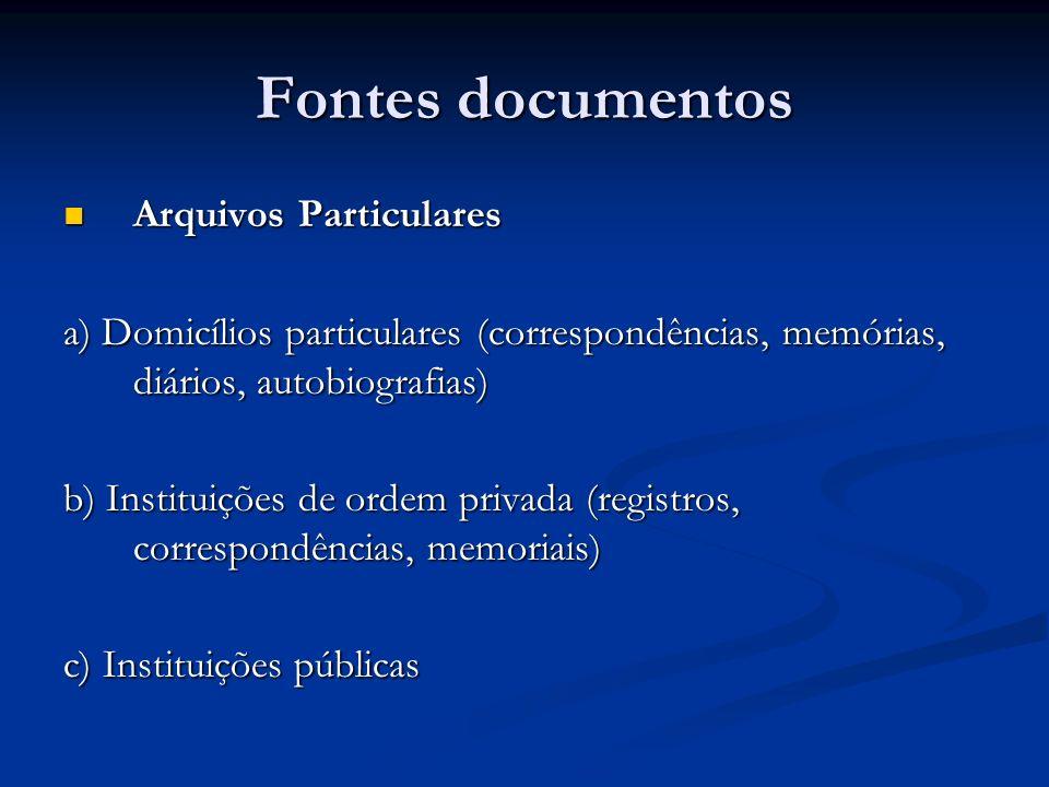 Fontes documentos Arquivos Particulares