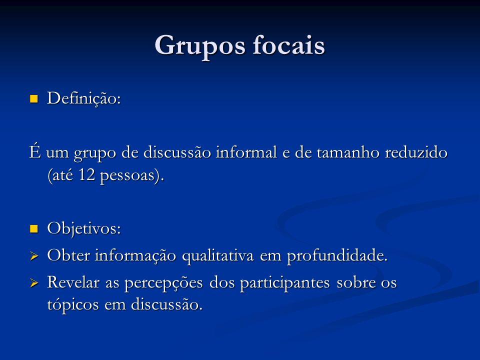 Grupos focais Definição: