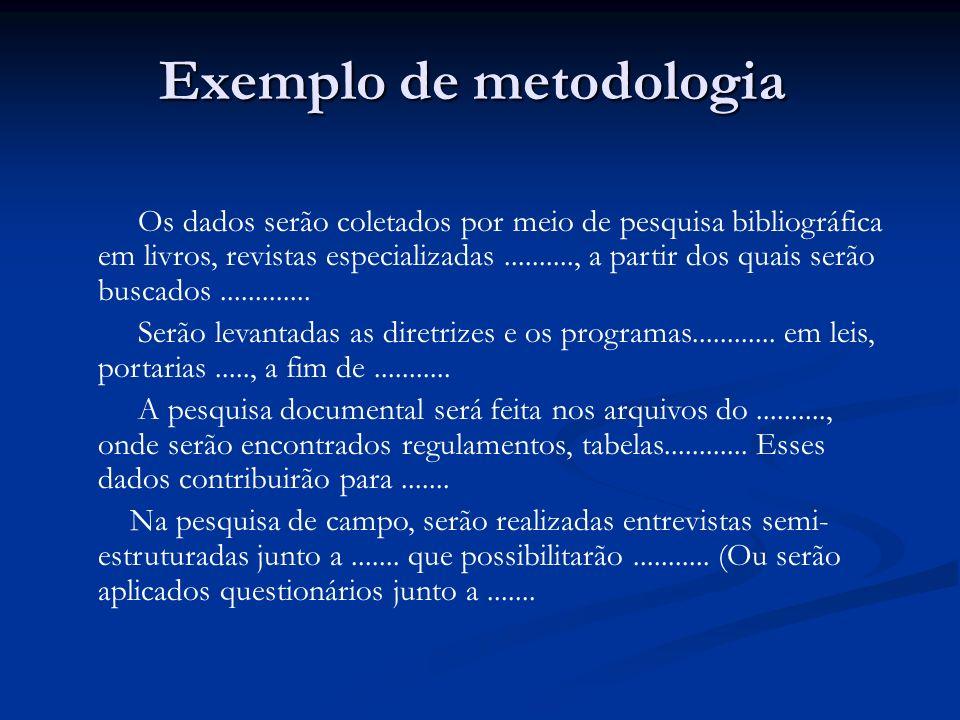 Exemplo de metodologia