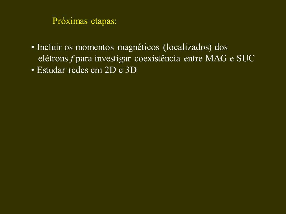 Próximas etapas: Incluir os momentos magnéticos (localizados) dos. elétrons f para investigar coexistência entre MAG e SUC.