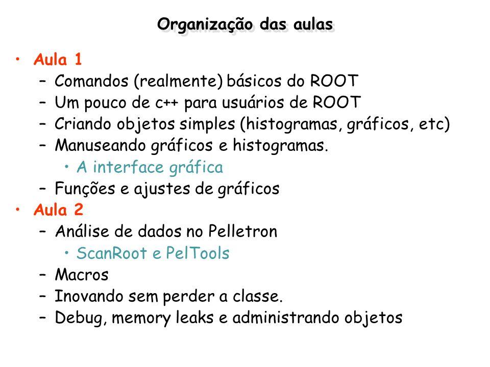 Organização das aulas Aula 1. Comandos (realmente) básicos do ROOT. Um pouco de c++ para usuários de ROOT.