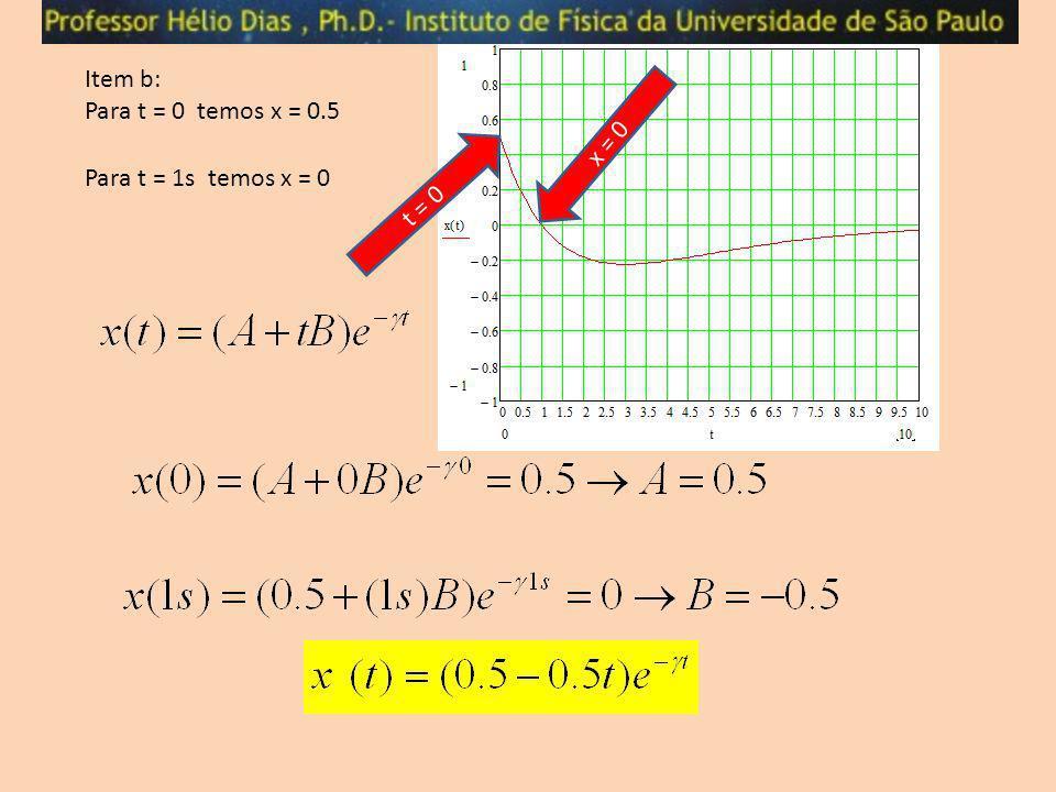 Item b: Para t = 0 temos x = 0.5 x = 0 Para t = 1s temos x = 0 t = 0