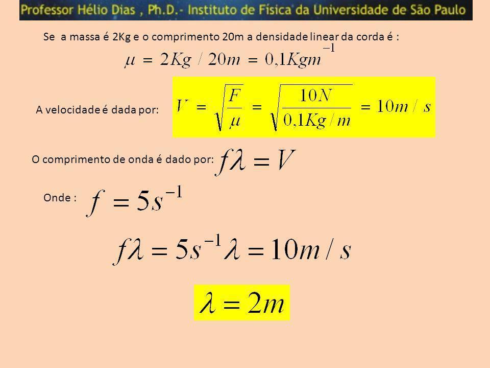 Se a massa é 2Kg e o comprimento 20m a densidade linear da corda é :