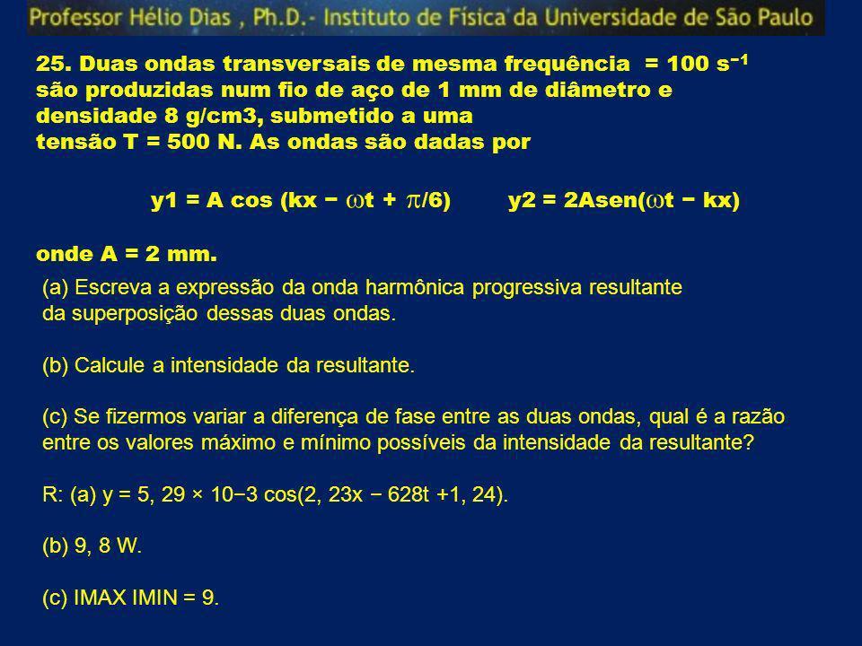 25. Duas ondas transversais de mesma frequência = 100 s−1 são produzidas num fio de aço de 1 mm de diâmetro e densidade 8 g/cm3, submetido a uma