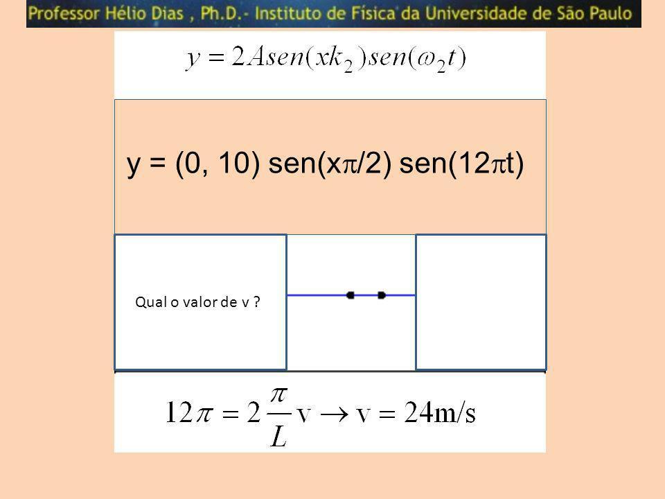 y = (0, 10) sen(x/2) sen(12t) Qual o valor de v l