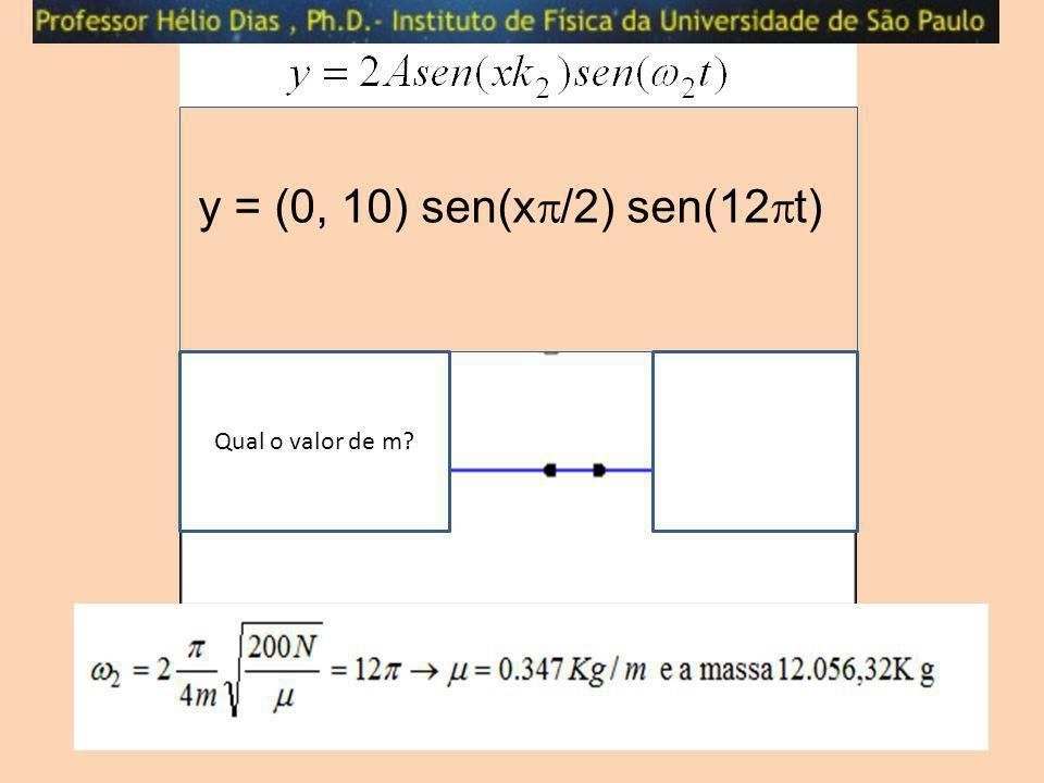 y = (0, 10) sen(x/2) sen(12t) Qual o valor de m