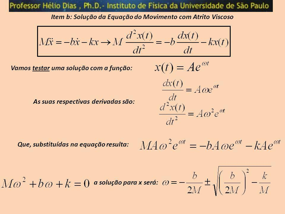 Item b: Solução da Equação do Movimento com Atrito Viscoso