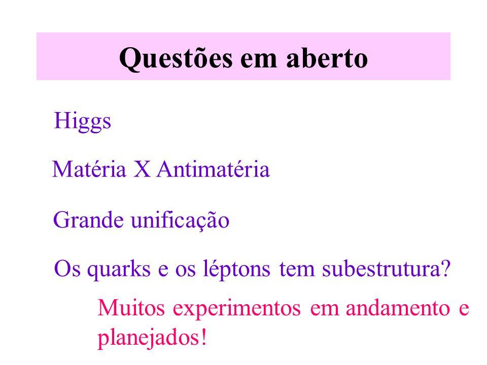 Questões em aberto Higgs Matéria X Antimatéria Grande unificação