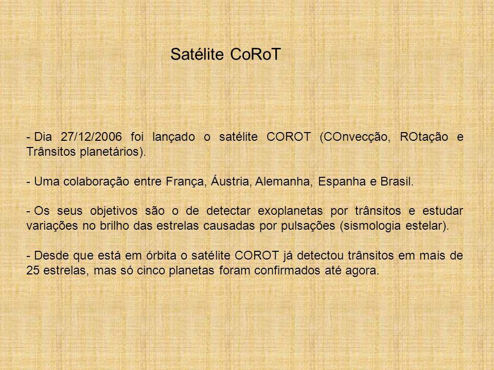 Satélite CoRoTDia 27/12/2006 foi lançado o satélite COROT (COnvecção, ROtação e Trânsitos planetários).