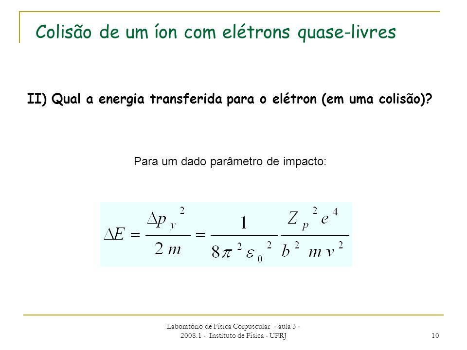 II) Qual a energia transferida para o elétron (em uma colisão)