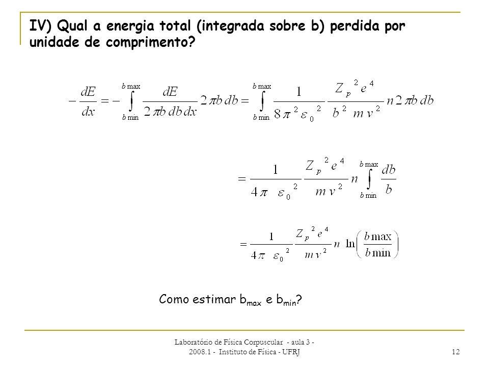 IV) Qual a energia total (integrada sobre b) perdida por unidade de comprimento