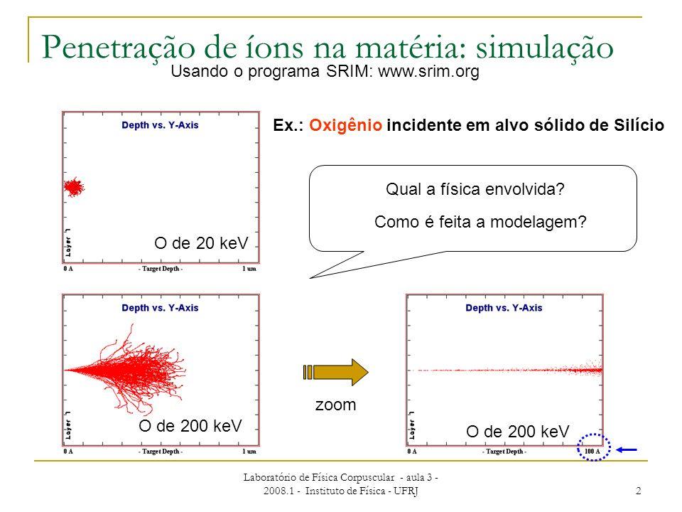 Penetração de íons na matéria: simulação