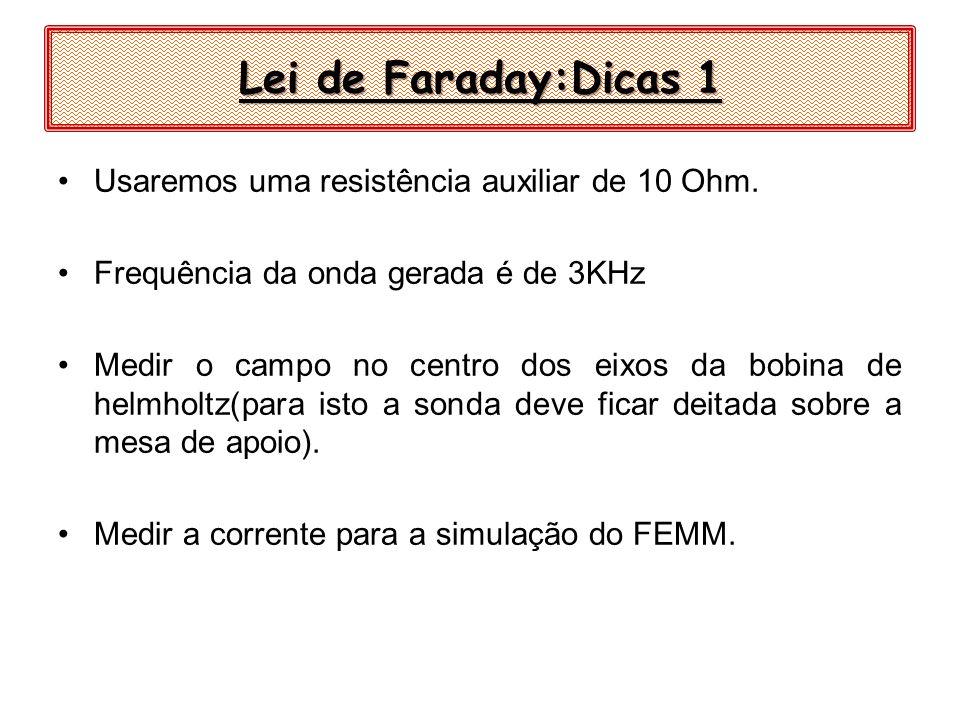 Lei de Faraday:Dicas 1 Usaremos uma resistência auxiliar de 10 Ohm.