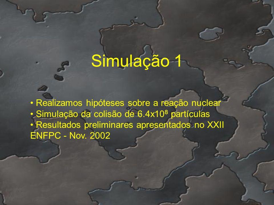 Simulação 1 Realizamos hipóteses sobre a reação nuclear