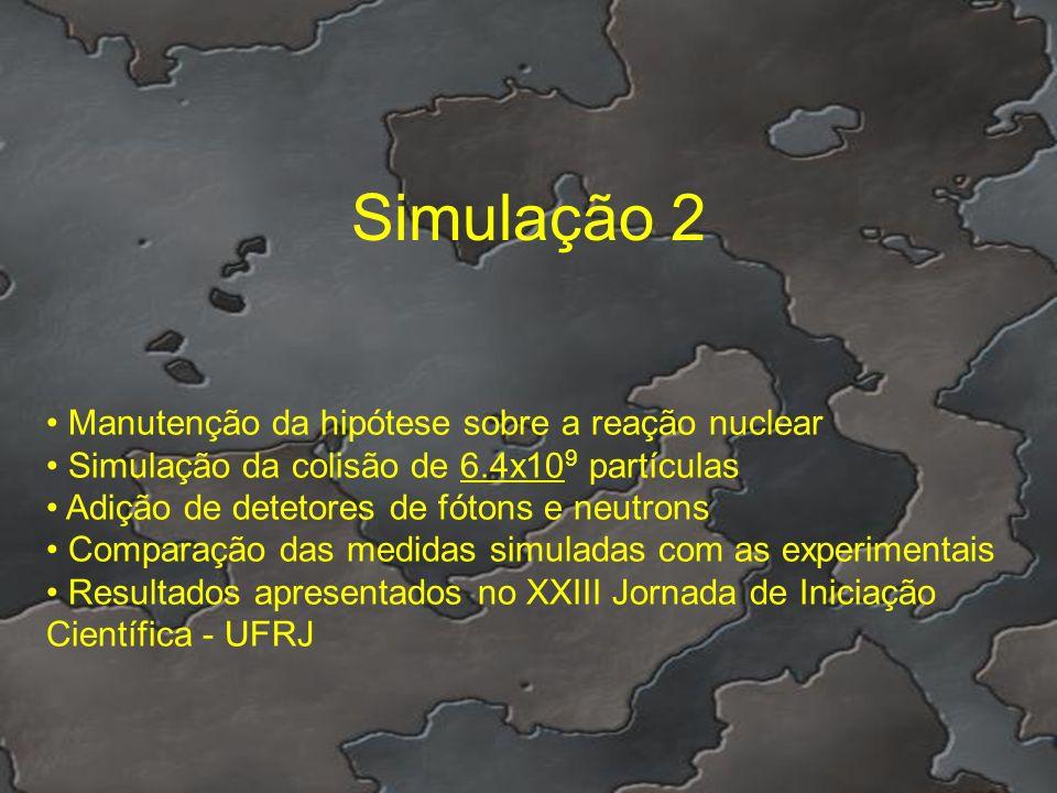Simulação 2 Manutenção da hipótese sobre a reação nuclear