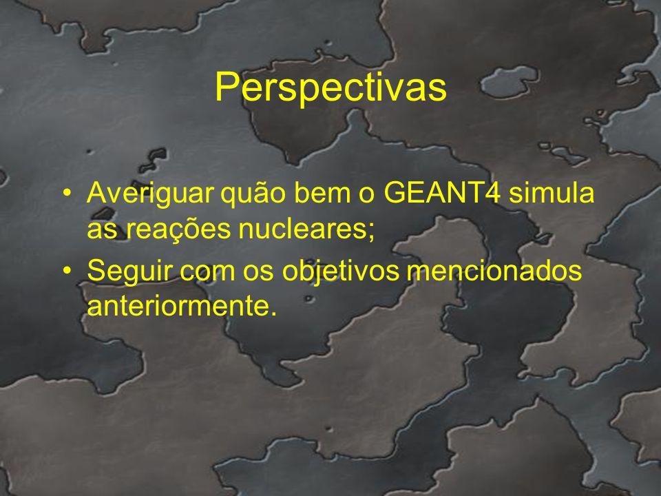 Perspectivas Averiguar quão bem o GEANT4 simula as reações nucleares;