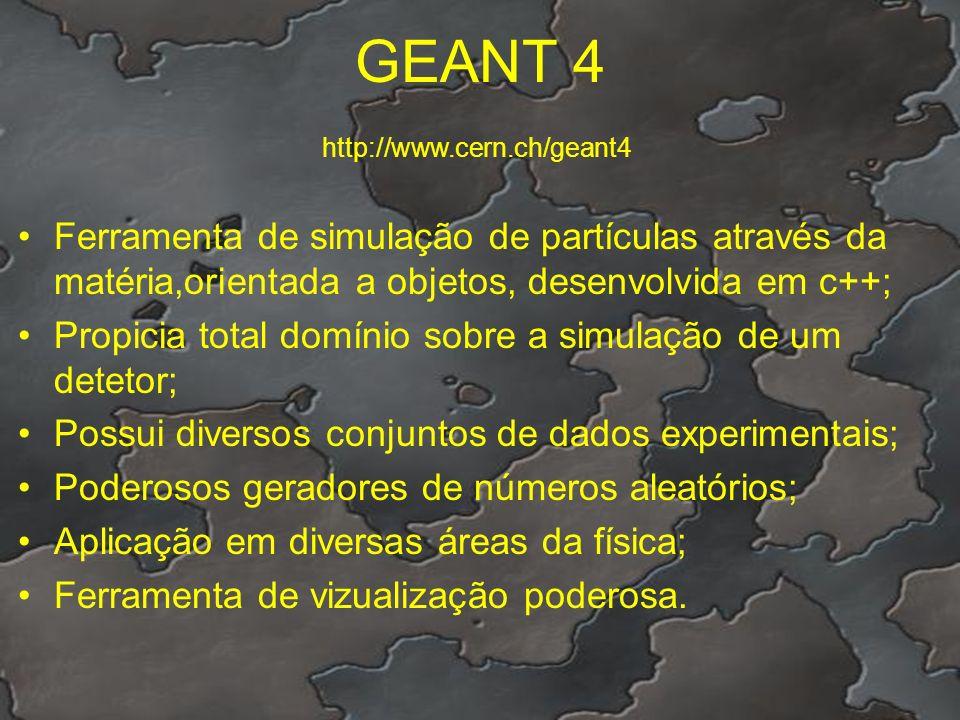 GEANT 4 http://www.cern.ch/geant4. Ferramenta de simulação de partículas através da matéria,orientada a objetos, desenvolvida em c++;
