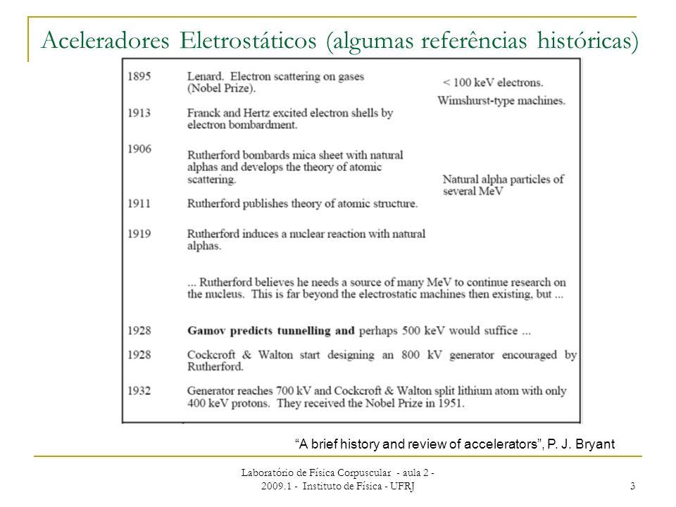 Aceleradores Eletrostáticos (algumas referências históricas)