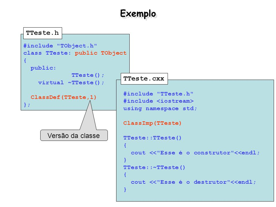 Exemplo TTeste.h TTeste.cxx Versão da classe #include TObject.h