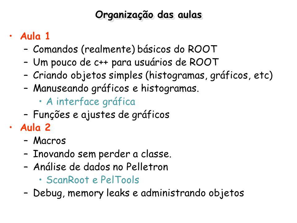 Organização das aulasAula 1. Comandos (realmente) básicos do ROOT. Um pouco de c++ para usuários de ROOT.