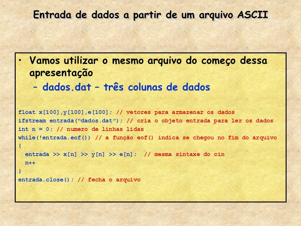 Entrada de dados a partir de um arquivo ASCII
