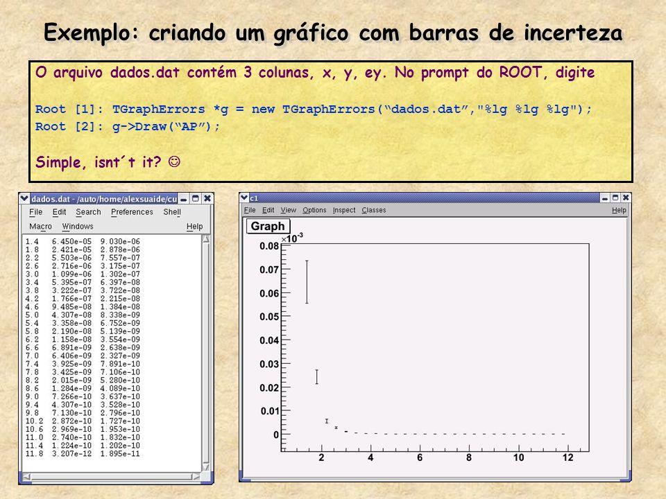Exemplo: criando um gráfico com barras de incerteza