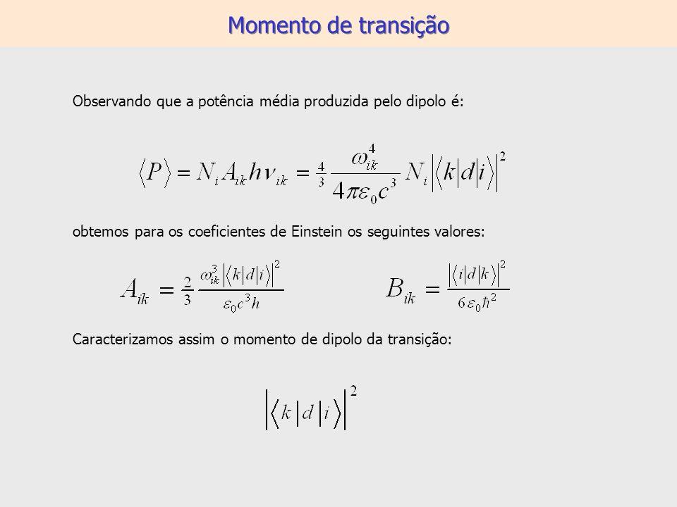 Momento de transição Observando que a potência média produzida pelo dipolo é: obtemos para os coeficientes de Einstein os seguintes valores: