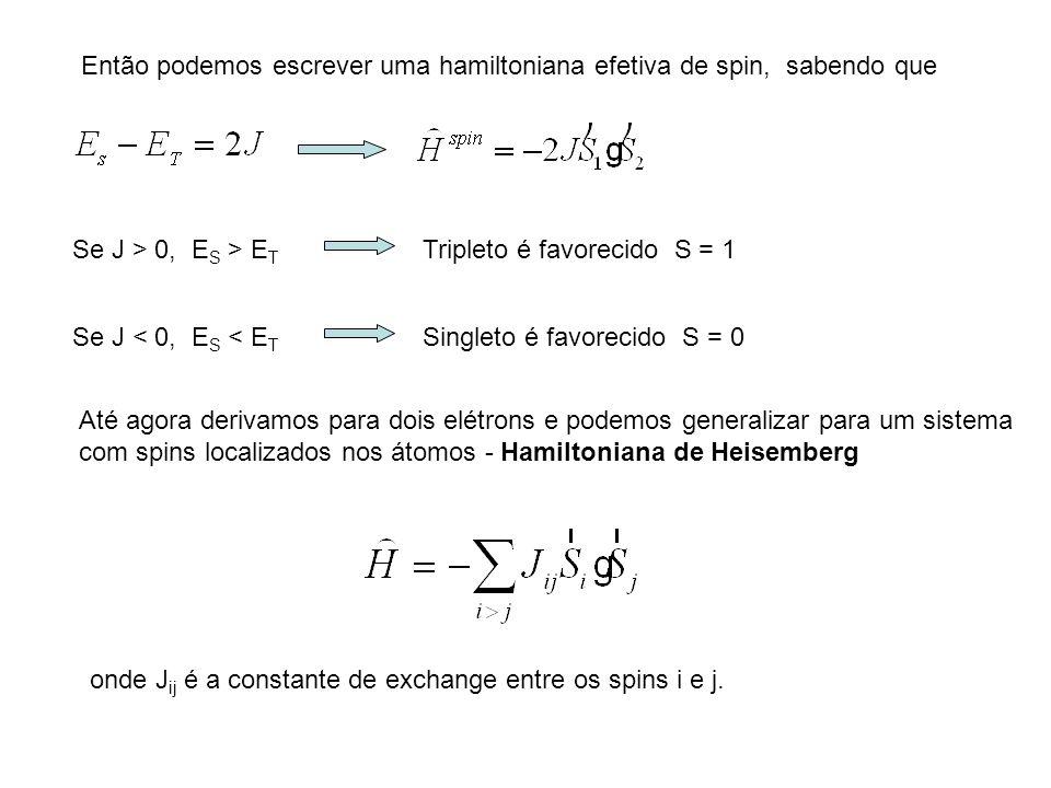 Então podemos escrever uma hamiltoniana efetiva de spin, sabendo que