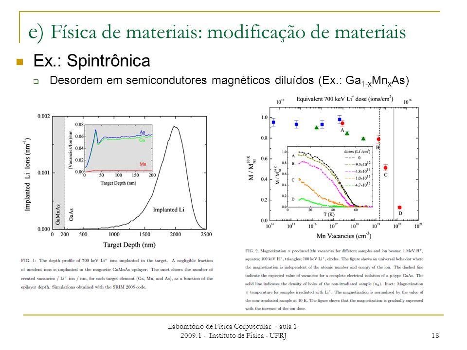 e) Física de materiais: modificação de materiais