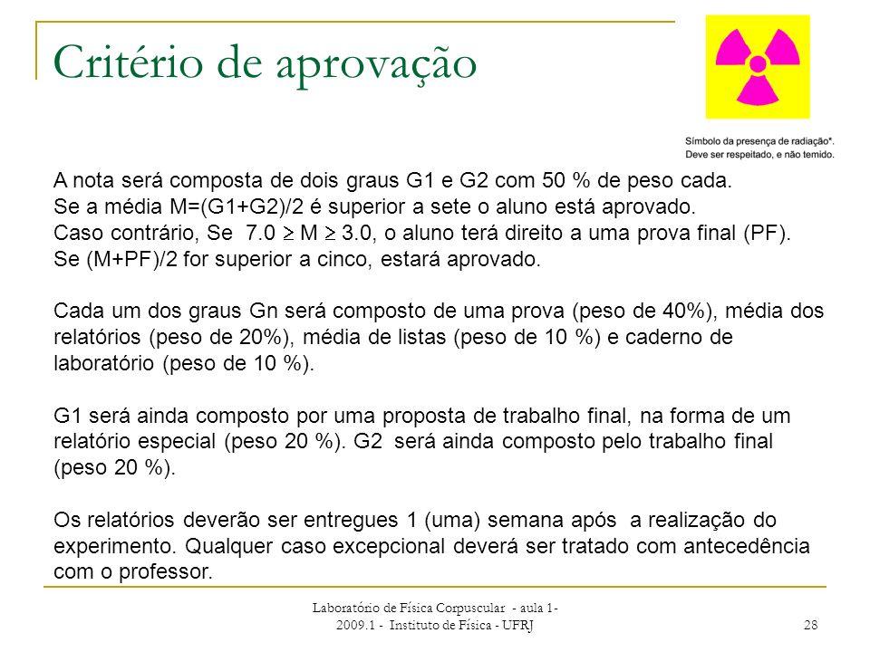 Critério de aprovação A nota será composta de dois graus G1 e G2 com 50 % de peso cada.