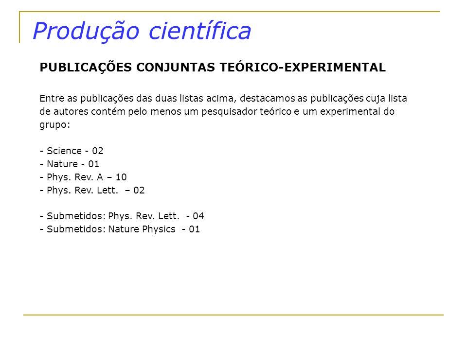 Produção científica PUBLICAÇÕES CONJUNTAS TEÓRICO-EXPERIMENTAL