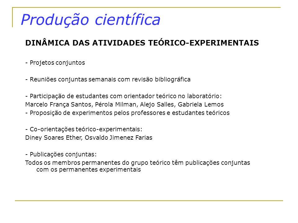 Produção científica DINÂMICA DAS ATIVIDADES TEÓRICO-EXPERIMENTAIS