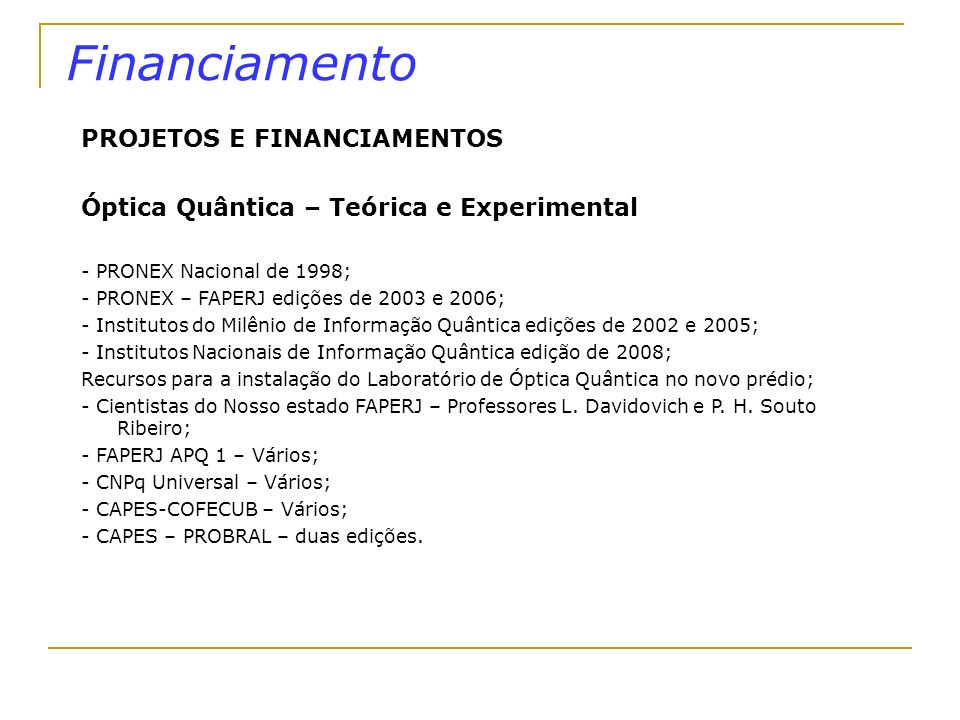 Financiamento PROJETOS E FINANCIAMENTOS