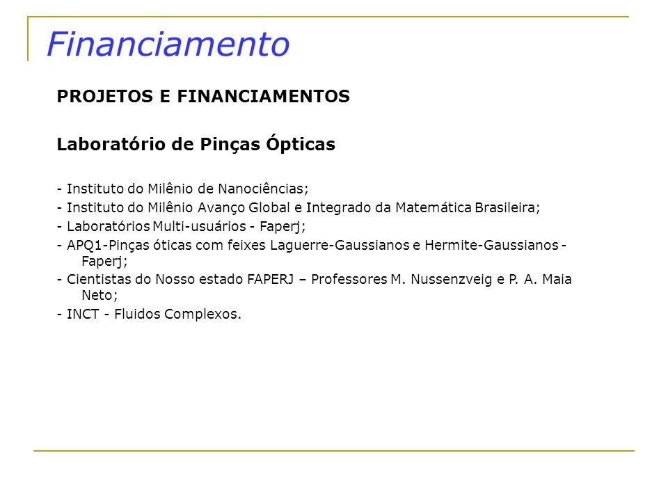 Financiamento PROJETOS E FINANCIAMENTOS Laboratório de Pinças Ópticas