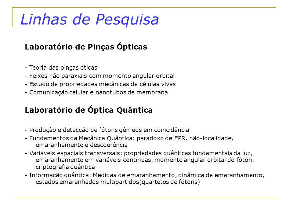 Linhas de Pesquisa Laboratório de Pinças Ópticas