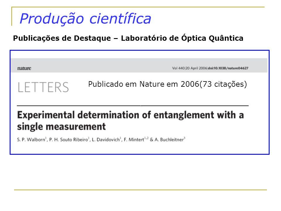 Produção científica Publicado em Nature em 2006(73 citações)