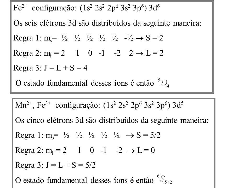 Fe2+ configuração: (1s2 2s2 2p6 3s2 3p6) 3d6