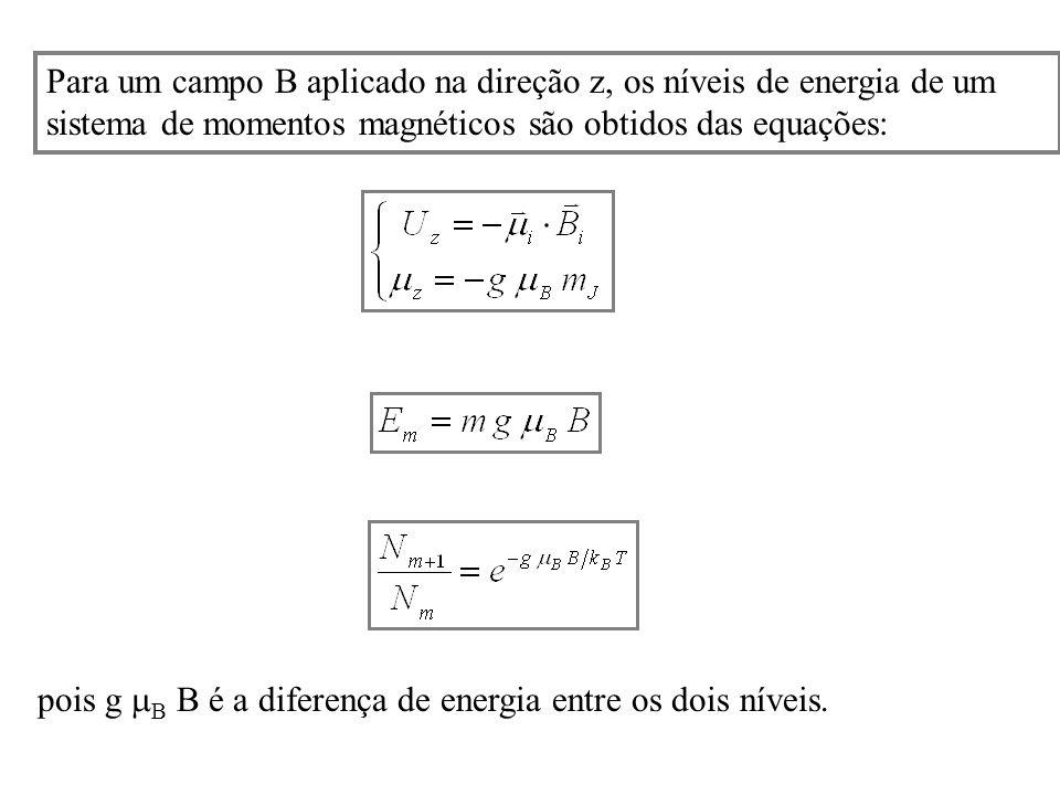 Para um campo B aplicado na direção z, os níveis de energia de um sistema de momentos magnéticos são obtidos das equações: