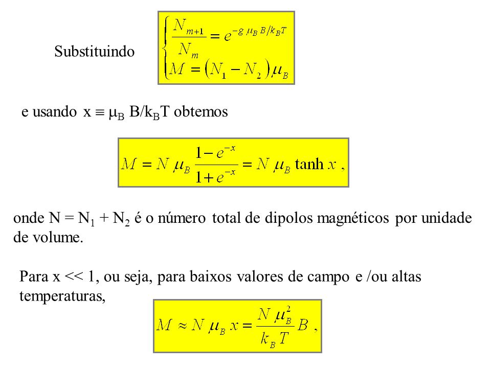 Substituindo e usando x  B B/kBT obtemos. onde N = N1 + N2 é o número total de dipolos magnéticos por unidade de volume.