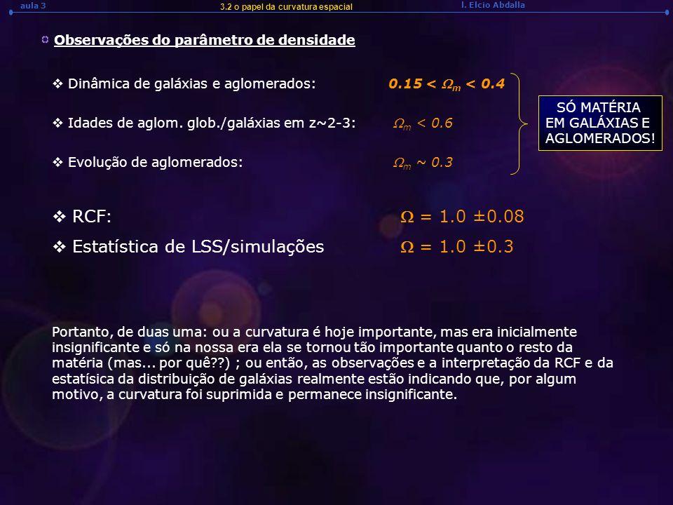 Estatística de LSS/simulações W = 1.0 ±0.3