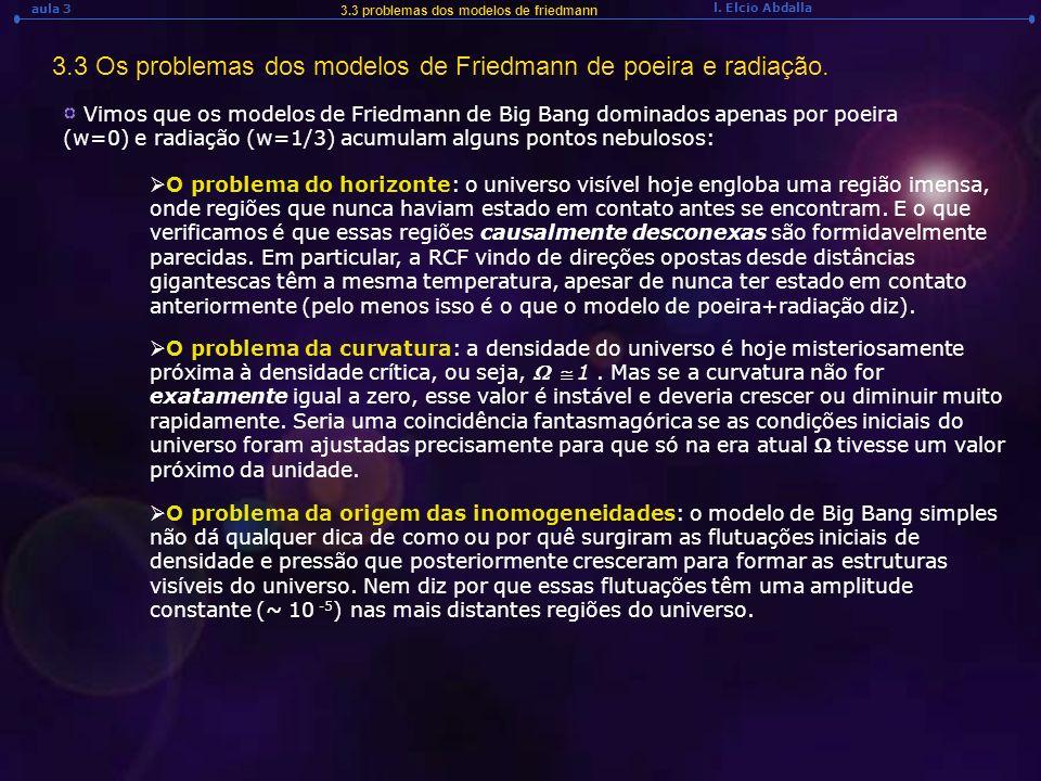 3.3 Os problemas dos modelos de Friedmann de poeira e radiação.
