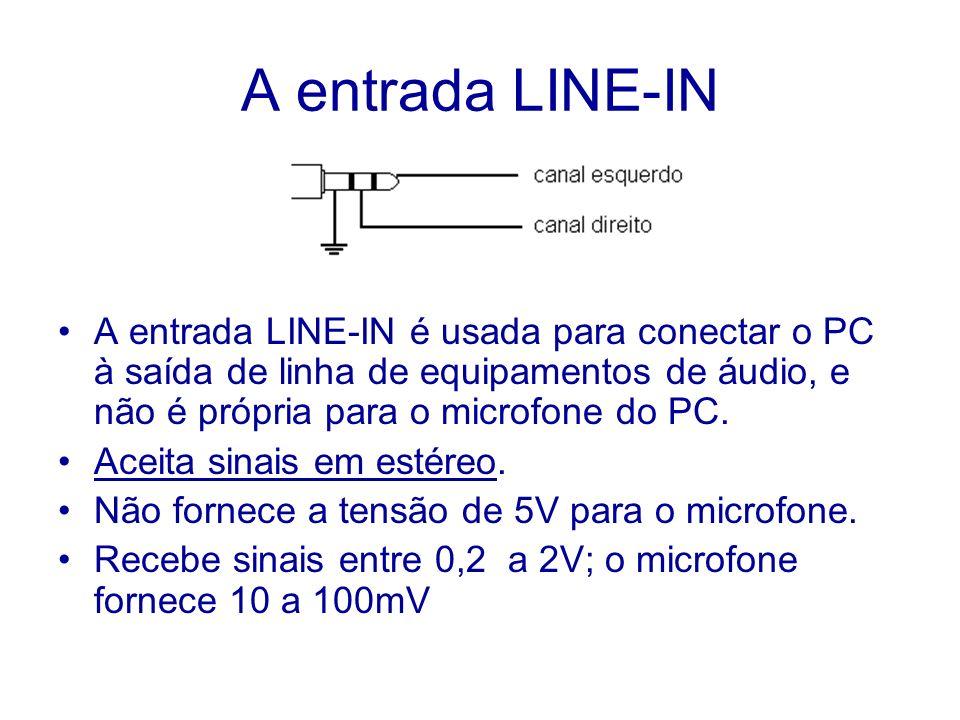 A entrada LINE-IN A entrada LINE-IN é usada para conectar o PC à saída de linha de equipamentos de áudio, e não é própria para o microfone do PC.