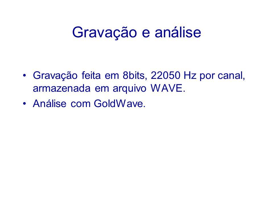 Gravação e análise Gravação feita em 8bits, 22050 Hz por canal, armazenada em arquivo WAVE.