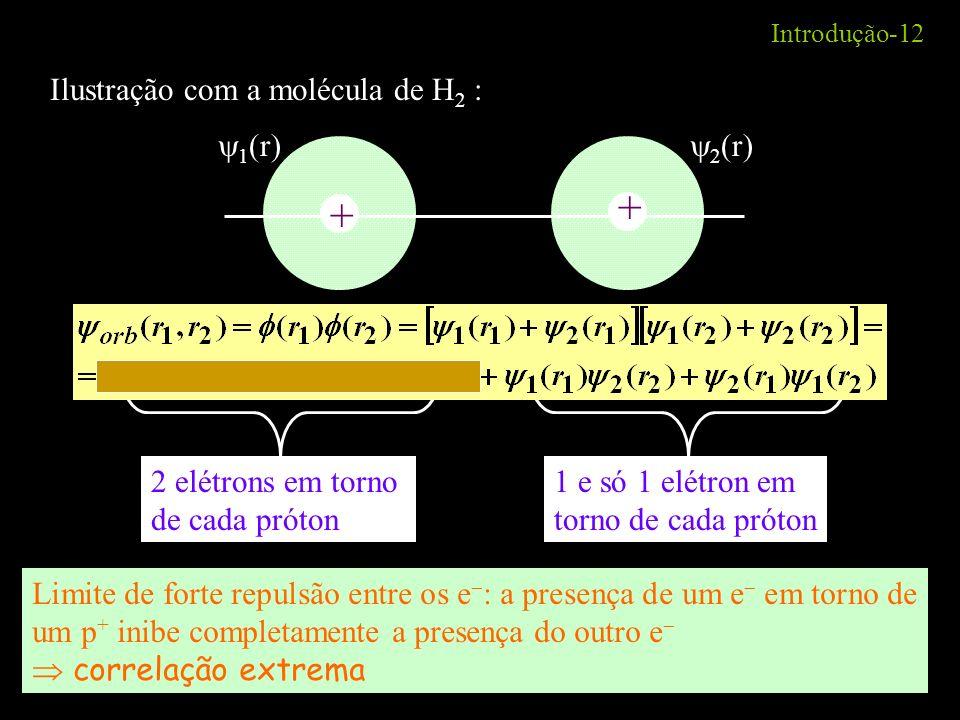 + + Ilustração com a molécula de H2 : 1(r) 2(r) 2 elétrons em torno
