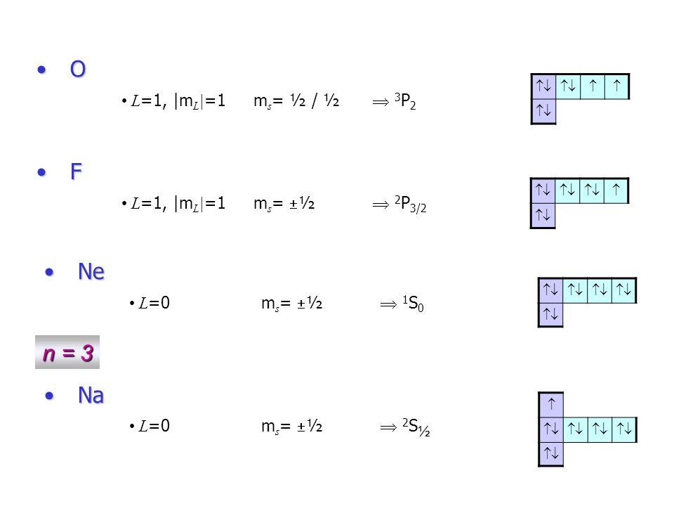 O F Ne n = 3 Na L=1, |mL|=1 ms= ½ / ½  3P2 L=1, |mL|=1 ms=½  2P3/2